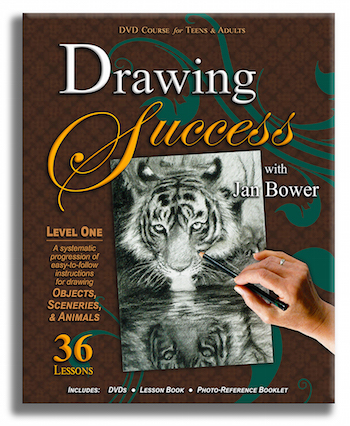 Drawing Success Art Curriculum by Jan Bower is the best DVD Homeschool Art program for teens and adults. 36 DVD lessons and step-by-step demonstrations will complete any homeschool curriculum.