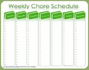 weekly chore schedule