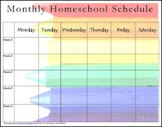 Monthly homeschool schedule assignment sheets