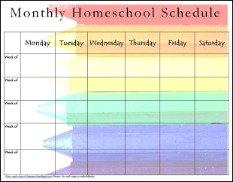 monthly homeschool schedules