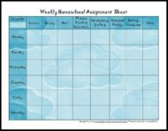 weekly homeschool schedule assignment sheet